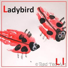 ladybug handprint--site has links to other 'handprint animals' for each letter ('E' = elephant using gray paint)