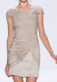Tadashi Shoji Spring 2010 RTW Hammered Silk Crepe and Jersey Macrame Dress Profile Photo