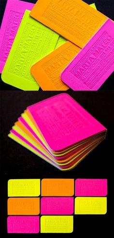 Bright Neon letter print #mattboard #businesscard #designinspiration