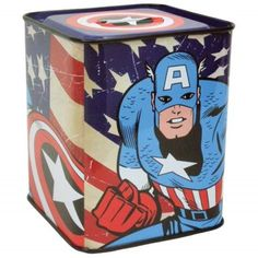 """WL SS-WL-22948 Marvel The Avenger Captain American Tin Bank, 3.75"""", Multicolor. Perfect gift for those that love Marvel. Great design and craftsmanship. Measurement: H: 3.75."""