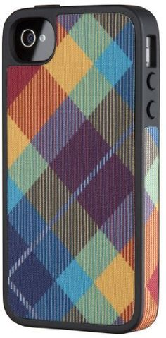 Speck Products SPK-A1010 FabShell Fabric Hard Shell Case for iPhone 4/4S - 1 Pack - Carrying Case - Retail Packaging - MegaPlaid Spectrum by Speck Products, http://www.amazon.com/dp/B006GK5BMK/ref=cm_sw_r_pi_dp_NziAqb08KNKAT
