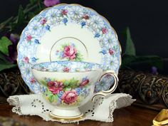 Chintz Teacup and Saucer, Rosina Floral Tea Cup Made in England 13291