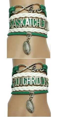 Do you love Sackatchewan Roughriders Football? Show the World with this Premium Hand-made Braided Leather Bracelet! Dont Miss our Giant Sales Event Going on Now. Make a great gift for the Roughrider fan. Diy Crafts Easy To Make, Kim Brown, Saskatchewan Roughriders, Football Bracelet, Infinity Love, Football Gear, Football Baby, Cool Things To Make, How To Make