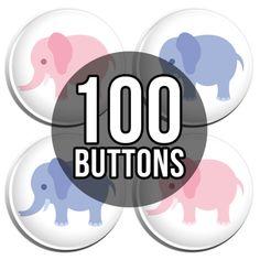 Pink & Blue Elephants Gender Reveal Baby Shower Button Badges - 100 Pack