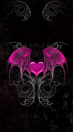 By Artist Unknown. Gothic Wallpaper, Heart Wallpaper, Love Wallpaper, Cellphone Wallpaper, Wallpaper Backgrounds, Iphone Wallpaper, Hipster Wallpaper, Hearts And Roses, Heart With Wings
