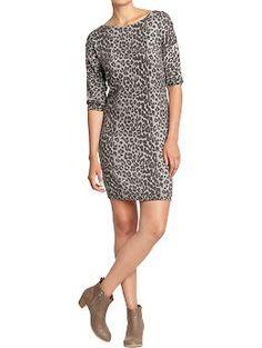 Women's Boatneck-Dolman Sweater Dress (Gray Leopard). Old Navy. $49.94