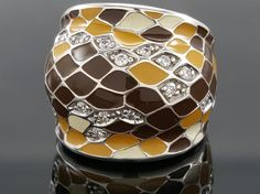 Featured here is an elegant Belle Etoile sterling silver enamel CZ ring. It is from the Desert Snakeskin line. Stamp: Belle Etoile, 925. and scrap those that are not. Enamel Color: Brown, Tan, White. | eBay!