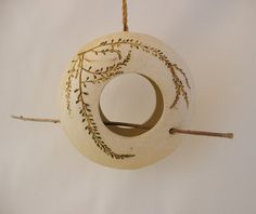 Small Hanging Clay Bird Feeder  2 Sided  Using Real by SallysClay, $32.00