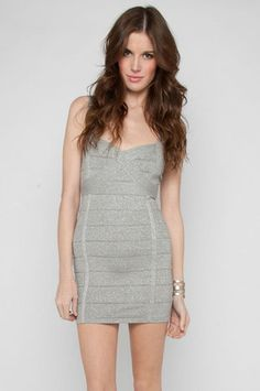 All That Jazz Bandage Dress in Silver $65 at www.tobi.com