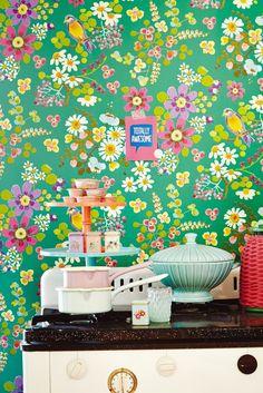 Secret Garden wallpaper design by Eijffinger. Colorful pink and green decor.