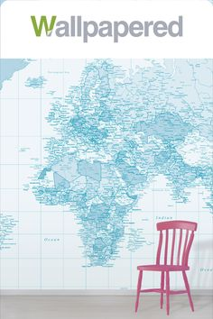 Create a beautiful feature wall in your home with our Pastel Blue World Map Wallpaper Mural. Soft hues give this design a calming and peaceful effect. World Map Mural, World Map Wallpaper, Interior Color Schemes, Simple Colors, Pastel Blue, Calming, Wall Design, Colorful Interiors, Design Elements