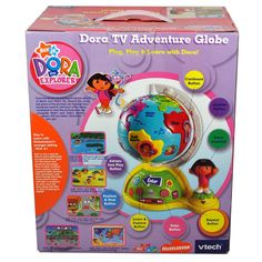 VTech Nick Jr. Dora the Explorer Plug, Play and Learn System Set - Dora TV Adventure Globe that Teach Shapes, Counting, Spanish Words, Social Studies, Memory Skills, Logic Skills, Language, Comparison Skill and More (TV is not included)