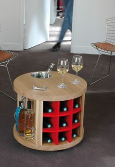 Mini bar tout équipé par l'Atelier du Vin / Wood & steel mini-bar by l'Atelier du Vin