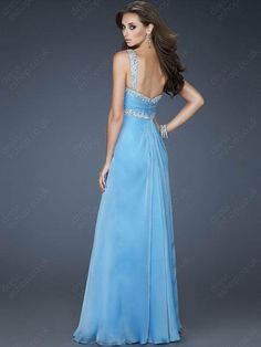 Empire Straps Chiffon Floor-length Blue Beading Evening Dress at Dresseshop