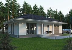 A family house with all the details Modern Bungalow House, Modern House Plans, Small House Plans, Modern House Design, Burbank Homes, One Level House Plans, Modern Mediterranean Homes, House Plans With Pictures, Compact House
