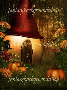 """Autumn Secret  $13.00  """"Autumn secret"""" is a collection of 10 fantasy backgrounds combined with 3D elements,   containing pumpkines and funny houses, so you can peek into the world of forest people   and see how they spend their autumn days and how prepare for Halloween.     """"Autumn secret"""" backgrounds are high resolution JPEG files, size 3000x4000 pixels, 300 dpi."""