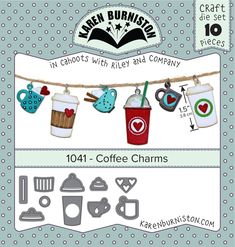ItsCheaperThanTherapy.com - Karen Burniston - Coffee Charms 1041, $8.95 (http://www.itscheaperthantherapy.com/karen-burniston-coffee-charms-1041/)