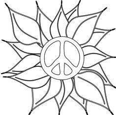 peace symbol peace sign flower 46 black white line art coloring clipart