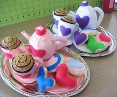 Felt Tea Set, Play Food, Princess Tea Party Set on Silver Platter - Hearts - scented sugar cookies, eco-friendly