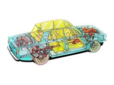 Rover 2000 - Illustrated by Vic Berris Rover P6, Technical Drawing, Technical Illustrations, Cutaway, Vans, Cars, Morning Suits, Van