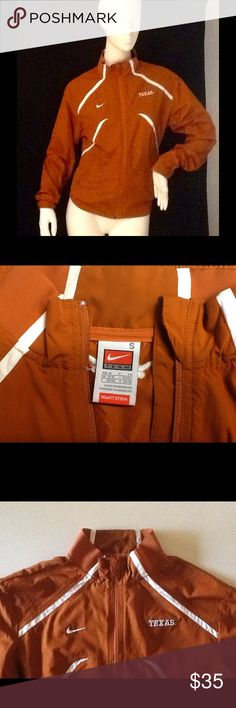 "Jacket Texas Longhorn Nike jacket in excellent condition, small, burnt orange color with white trim, two side pockets in front with zippers, has Nike and TEXAS logos in front with the ""Longhorn"" logo in the top back Nike Jackets & Coats"