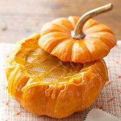 Canned pumpkin adds a taste of autumn to this classic custard dessert. Serve it in a mini pumpkin or a gourd for a fun presentation.