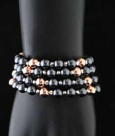 Beaded Bracelet, Memory Wire Bracelet, Rose Gold, Gun Metal, Beads, Stylish by Starboxjewellery on Etsy