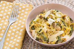 Creamy Lemon Linguine  with Caramelized Onion, Chard & Walnuts