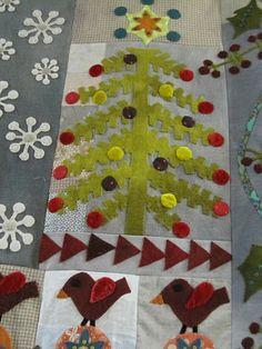 Crimson Tweed, tree detail, by Sue Spargo