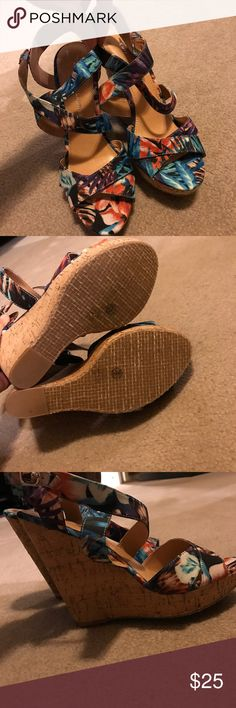 Brand new Chinese laundry wedges Multicolored beautiful patterned Chinese laundry wedges, BRAND NEW, NEVER WORN, no box available, size 10 Chinese Laundry Shoes Wedges