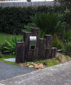 Oh my, I could love this in the front garden with railway sleepers and a cool letterbox. Please, honey, please! Beach Gardens, Outdoor Gardens, Sleepers In Garden, Railway Sleepers, Post Box, Front Entrances, House Front, Garden Inspiration, Garden Art