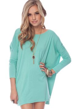 Basics Tunic Top in Seafoam $46 at www.tobi.com...                  maybe not as a dress.. but with white jeans...:)