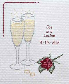 Champagne Wedding Sampler www.thehappycros-stitcher.com