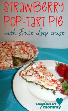 Strawberry Pop-tart Pie w/ Fruit Loop Crust features a delicious recipe for making a fun festive dessert featuring Pop-tarts and Fruit Loop cereal.