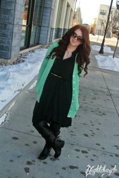 Sunday Comfortable, Mint Cardigan, Leopard Print Belt, Black Boots, Black high low dress (hi lo)