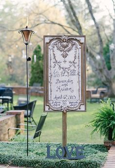 Wedding sign at Ashford Manor reception; Rustic White Photography via Every Last Detail - Lover.ly