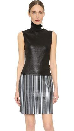EDUN Printed Stripe Leather Turtleneck Sleeveless