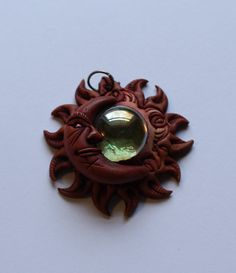 Leather and Glass Sun and Moon Pendant by onetime on Etsy, $3.00