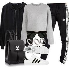 A fashion look from November 2016 featuring T By Alexander Wang sweatshirts, BLK DNM jackets and adidas Originals activewear pants. Browse and shop related loo…