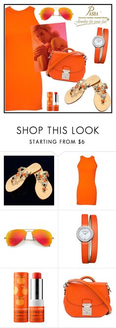 """""""WIN JEWELRY SANDALS PASHA GROOTE ORANGE"""" by tlb0318 ❤ liked on Polyvore featuring Gucci, Ray-Ban, Baume & Mercier, Sephora Collection and Louis Vuitton"""