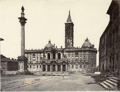 Italie, Roma, Veduta di piazza S. Maria Maggiore Vintage albumen print Tirage albuminé 20x25 Circa 1875