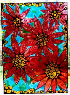 faux stained glass glass painting poinsettias noel christmas