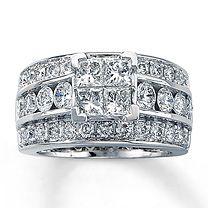 14K White Gold 3 1/2 Carat t.w. Diamond Ring-Kay jewelers. Love that big bling!