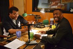 """Neil deGrasse Tyson and Chuck Nice in the studio recording """"Cosmic Queries"""" (© Stacey Severn, All rights reserved)"""