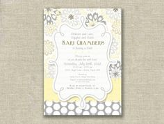 Modern Baby Shower Girl Invitation Invite Yellow Gray Floral Polka Dots - Printable DIGITAL - by girls at play girlsatplay