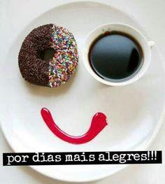 happy coffee donut /breakfast of champions Happy Coffee, I Love Coffee, Coffee Break, My Coffee, Morning Coffee, Coffee Pics, Brown Coffee, Café Chocolate, Coffee And Donuts