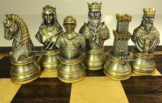 "LARGE PEWTER METAL ***** MEDIEVAL TIMES CRUSADES BUSTS chess set 20"" EBONY MAPLE"