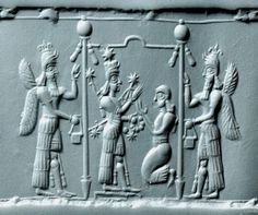 Neo-Assyrian Pink Chalcedony Cylinder Seal, 8th-7th Century BCOn this cylinder seal the war goddess Ishtar stands on a platform within a canopied enclosure. Ishtar is identified by crossed quivers, an...
