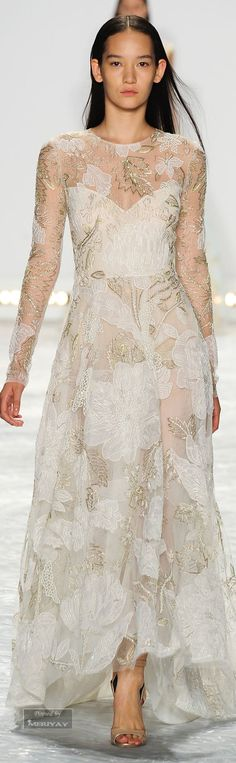 Monique Lhuillier Spring 2015 - Not a fan of the round neckline, but so, so pretty!