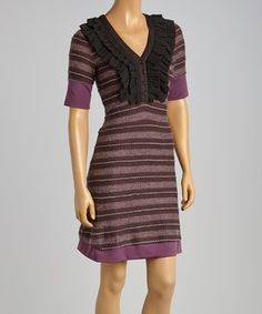 This Purple & Black Stripe V-Neck Dress by Young Essence is perfect! #zulilyfinds